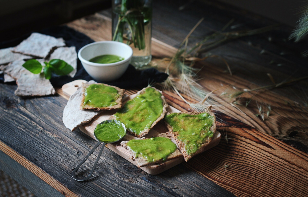 Buckwheat and Chestnut Crackers with Pesto
