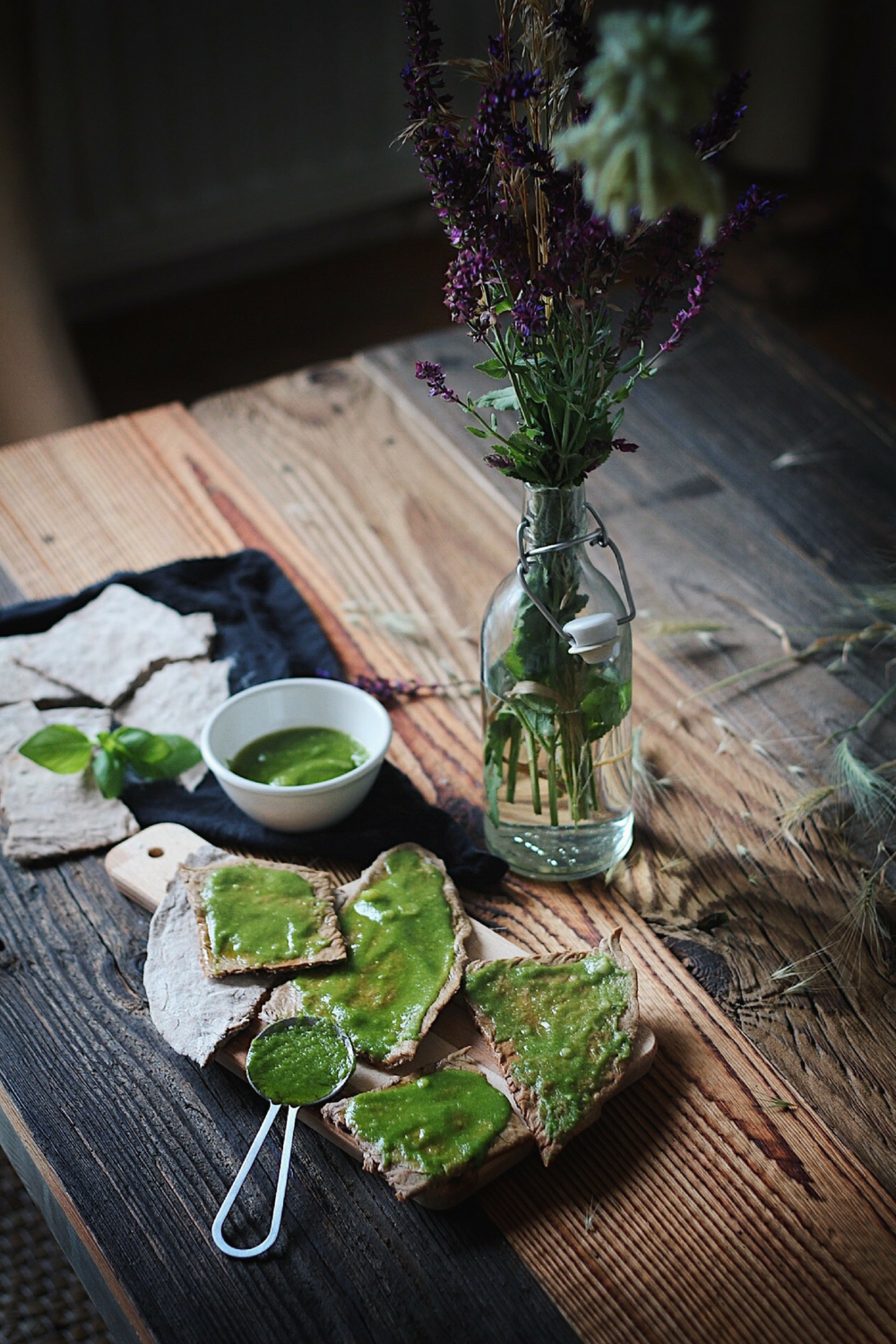 Buckwheat and Chestnut Crackers with Pesto - Fit Chick Bakery