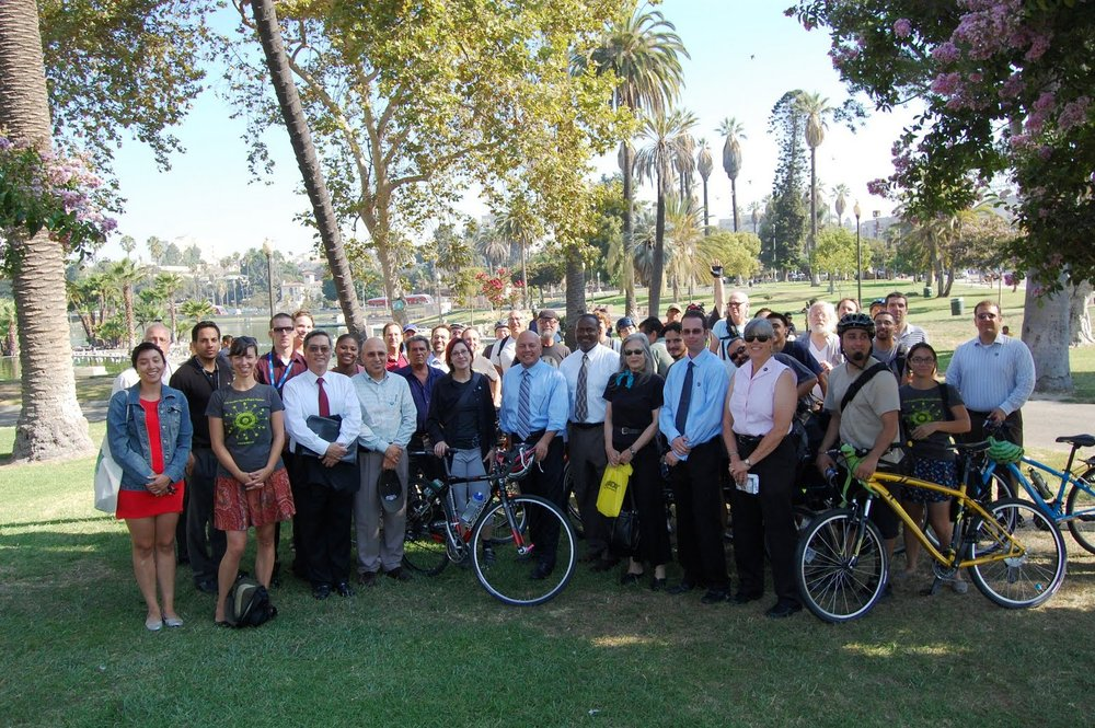Advocates and city staff attend press conference on 9.8.2011