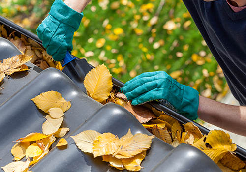 Gutter cleaning service by landscape contractors in Glenview, IL