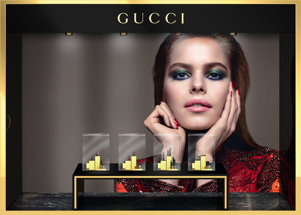 Retouching for Gucci make-up in-store windows