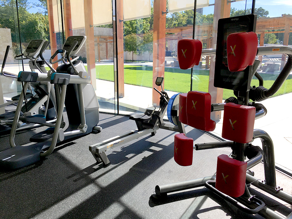 The Nexersys virtual boxing trainer and the Precor AMT add diversity to the cardio circuit.