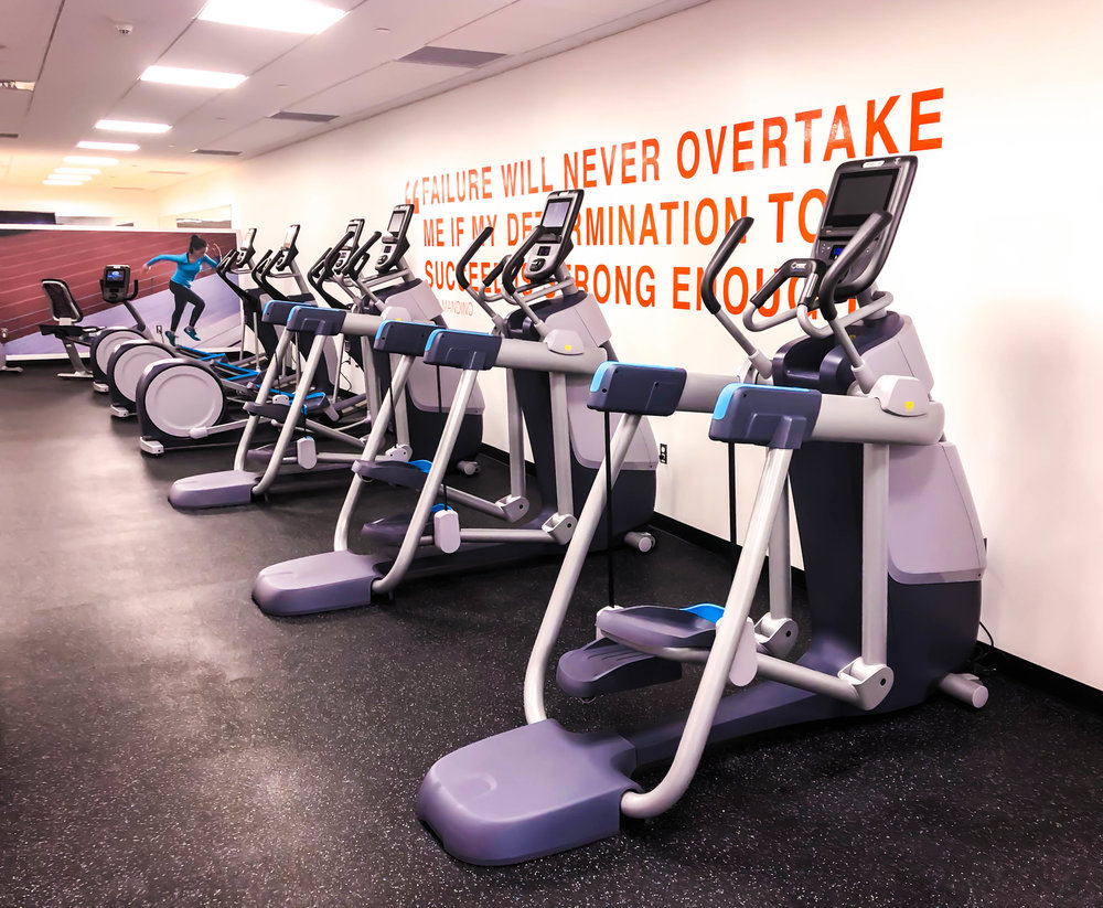 Precor 800 Line cardio paired with P62 interactive touchscreen consoles.