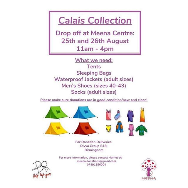 We are doing a collection of #donations for #Calais @helprefugeesuk warehouse they are running low on the following items #tents #sleepingbags #waterproof #jackets #mens #shoes and #socks. Please if you are in #Birmingham and can #donate any of these items get in touch. Please share with #friends and #family #chooselove #community #refugeeswelcome #refugees