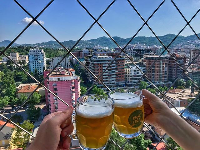 #TGIF cheers from the Sky Tower in Tirana, Albania 🍻🇦🇱