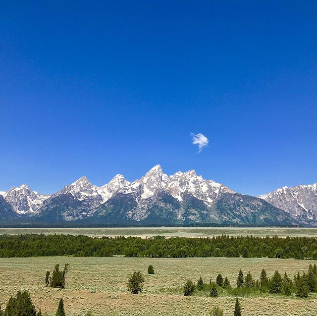 The spectacular Teton Mountain Range can be appreciated in Wyoming between Jackson Hole and Yellowstone National Park. Grand Teton is the tallest mountain in the range at 7,000 feet (2,100 meters). It's particularly striking as it rises abruptly from the relatively flat surrounding landscape.