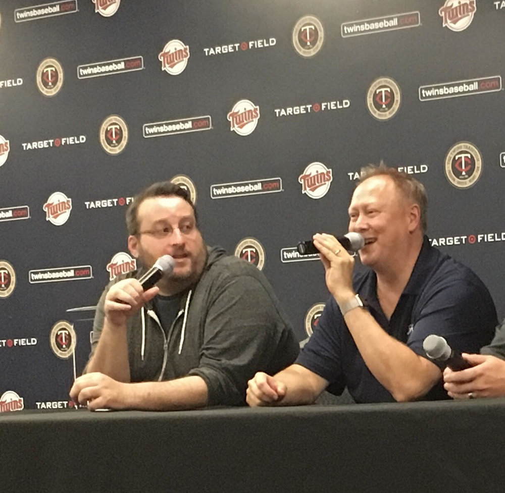 Aaron Gleeman and John Bonnes - Gleeman & The Geek - enjoy the microphone and each other's company at Target Field prior to a Twins Game last summer.