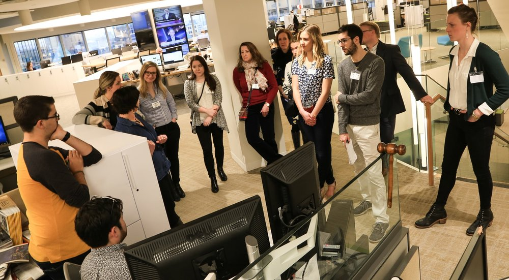 Sue Campbell, MMPA Member & StarTribune Features Editor, leads a tour of the editorial offices
