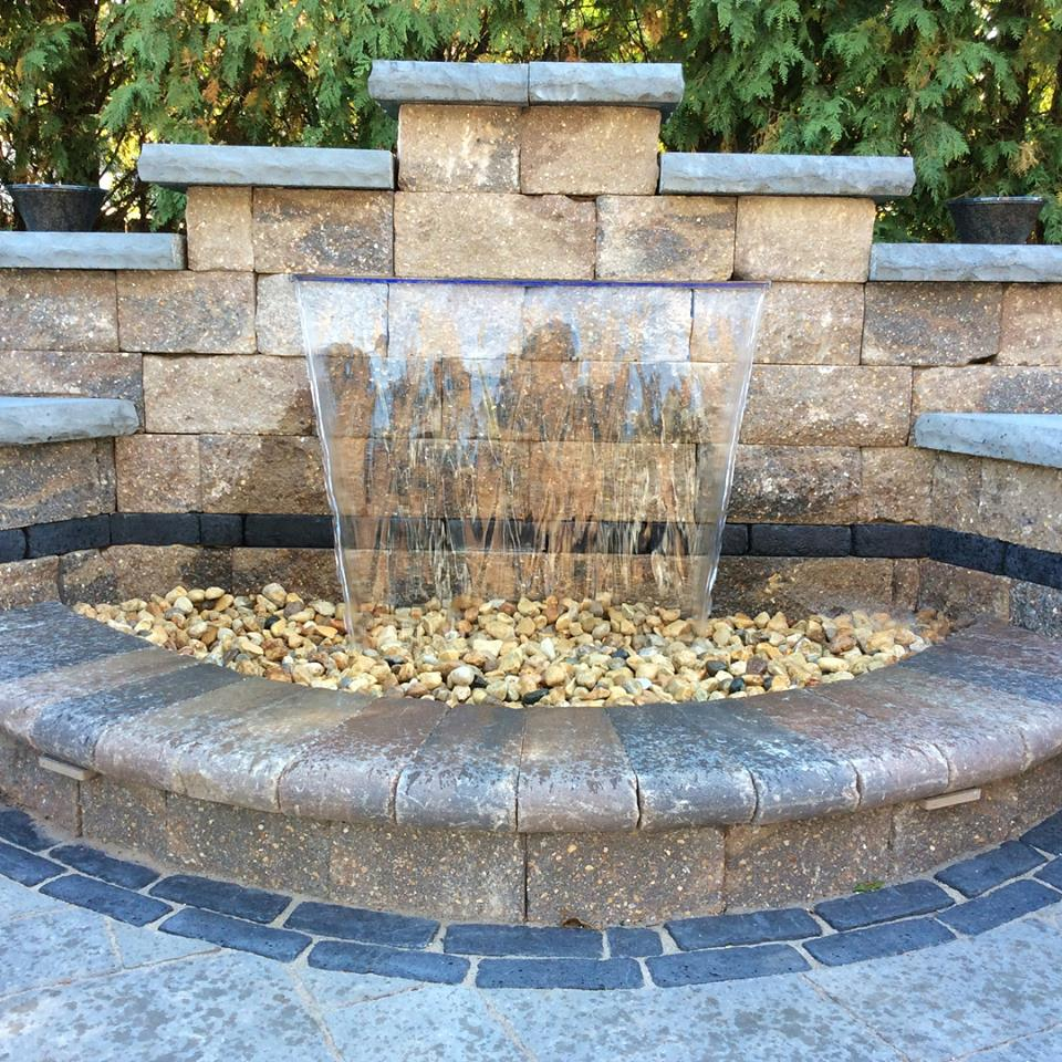 Brick paving water feature in Glen Ellyn, IL