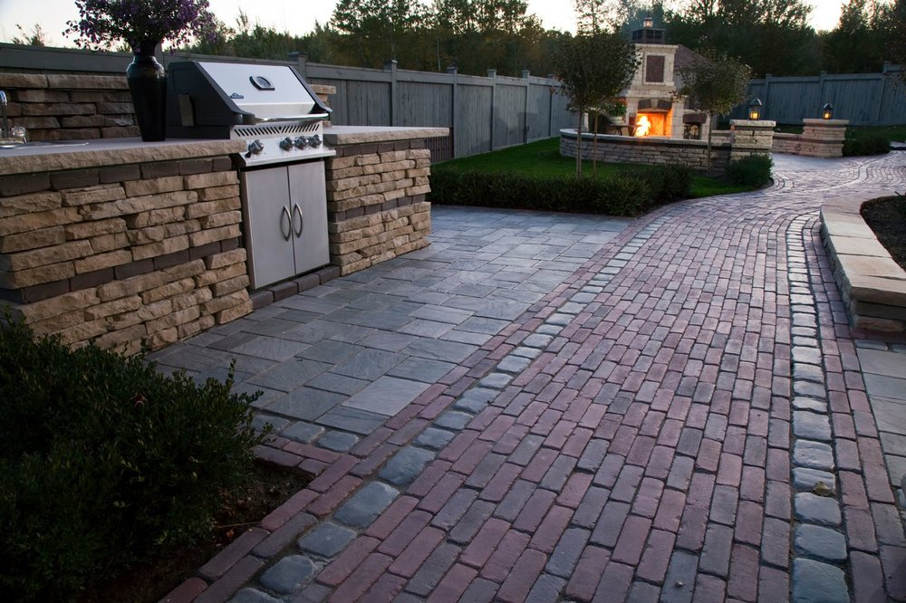 Outdoor fireplace and brick patio in Elmhurst, IL