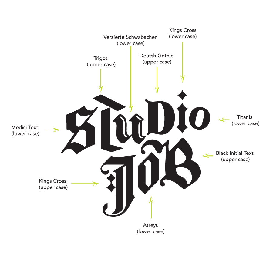 Logo Breakdown - The Logotype for Studio Job consists of a combination between new-wave black letter and display typefaces with the letters alternating between capital and lowercase. This combination embodies Studio Job's ability to create one of a kind pieces that take on an array of subject matter, material and neo-gothic appeal.
