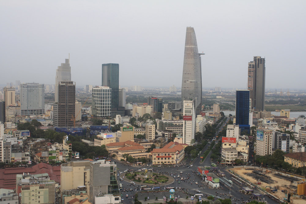birds eye view of ho chi minh city