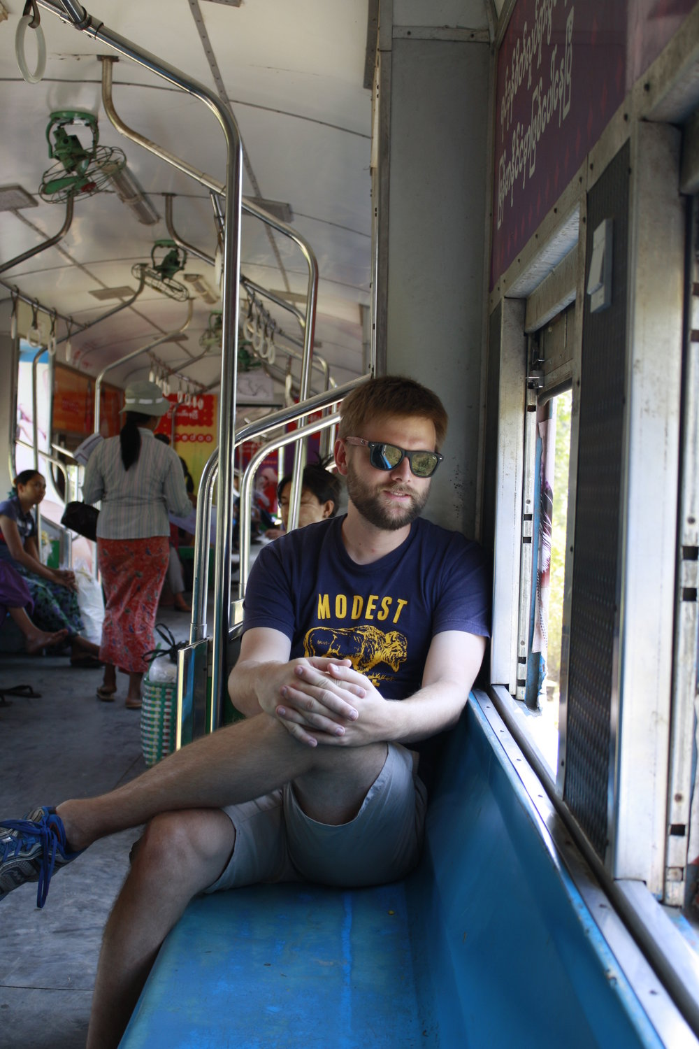 Chilling on the circular train, Yangon.
