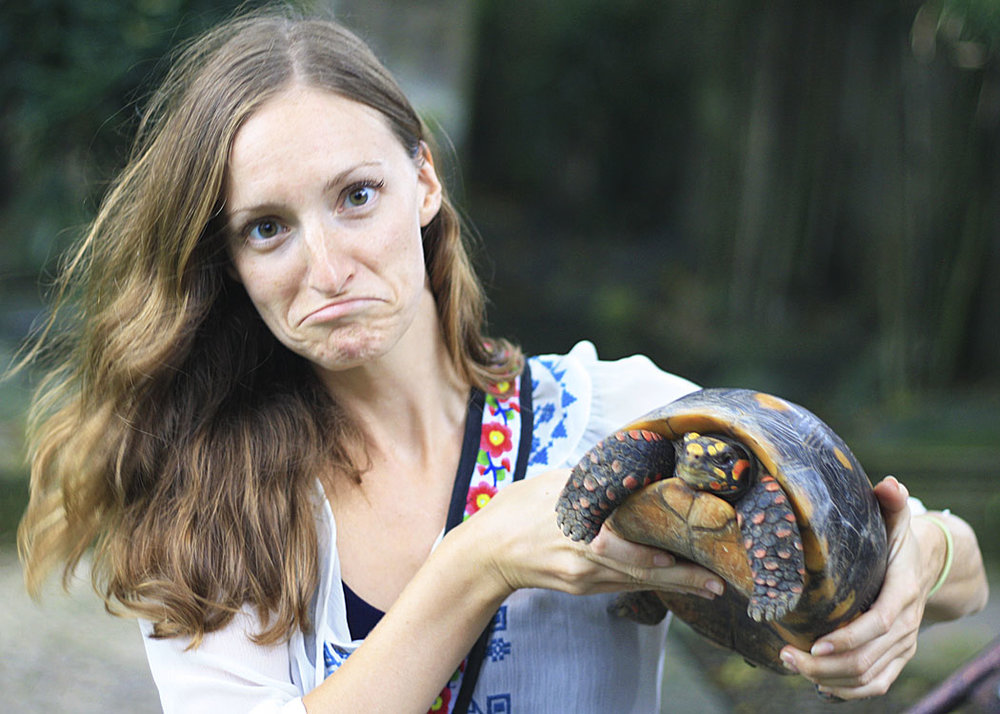 me and the turtle at the Bali reptile park
