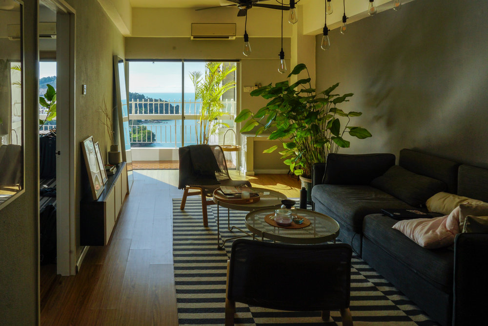 Our lovely seaside apartment in Penang Malaysia; huge 2-bedroom place for $650/month, with great internet for teaching. We found it listed on a Facebook group for Digital Nomads.