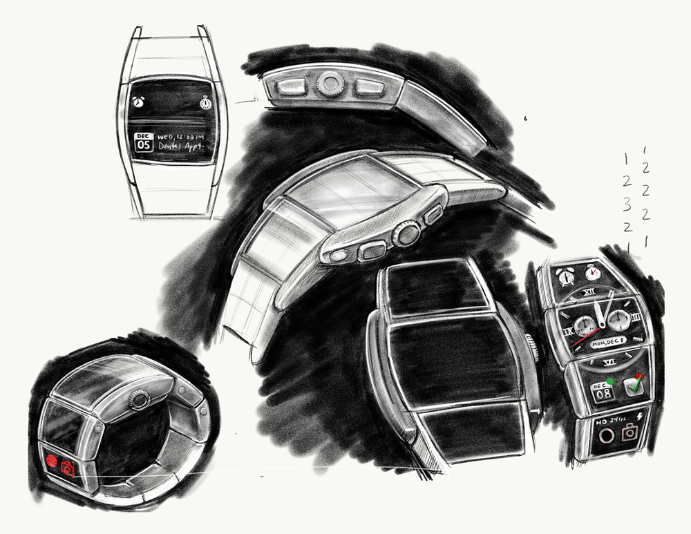 "Various studies that perfect the ""tonneau"" shape of the modular smart watch."