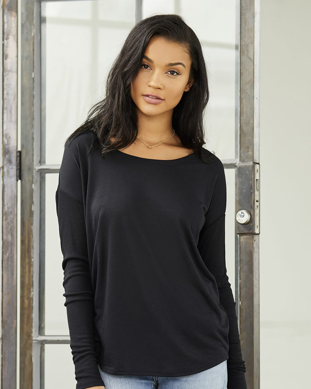 Bella + Canvas Women's Flowy Long Sleeve Tee with 2x1 Sleeves