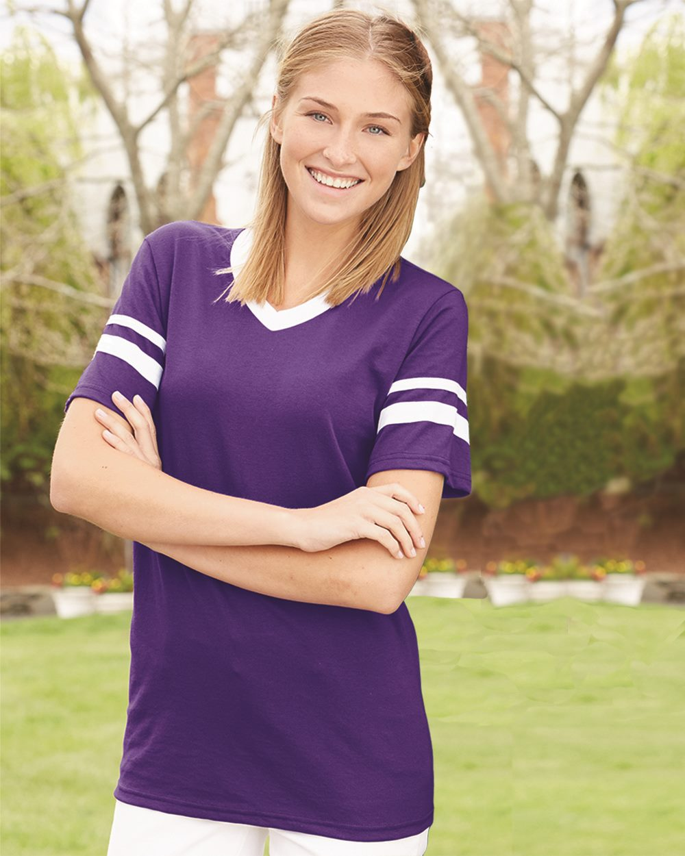 Augusta V-Neck Jersey with Striped Sleeves