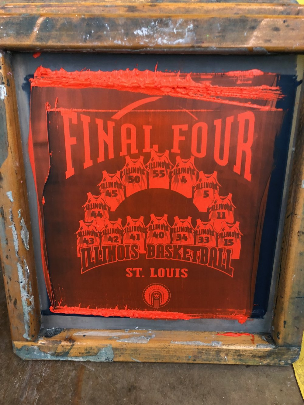 The Final Four screens used to print 40,000 shirts when Illinois went to the Final Four built into our tables