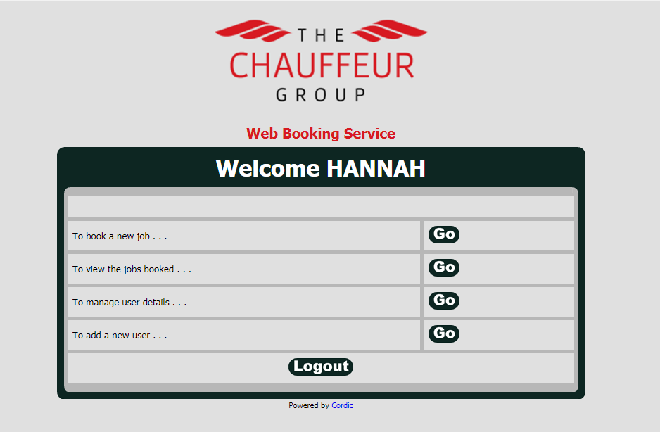 Online Booking  Welcome Screen