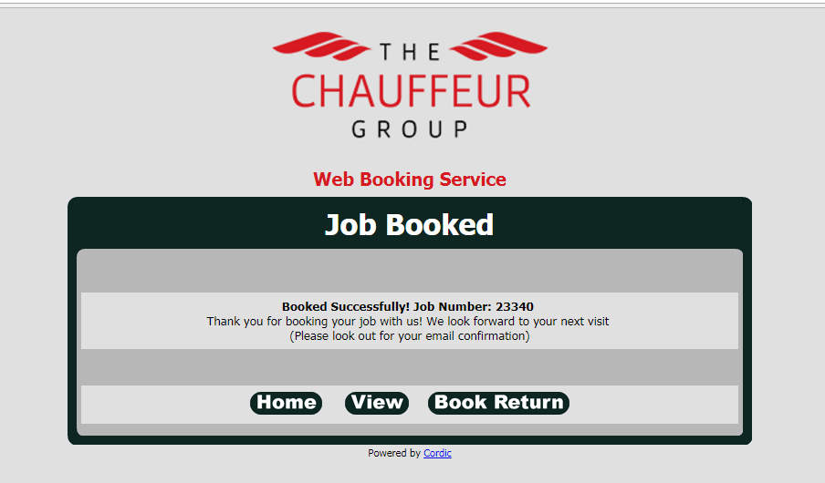 Online Booking - Job Booked