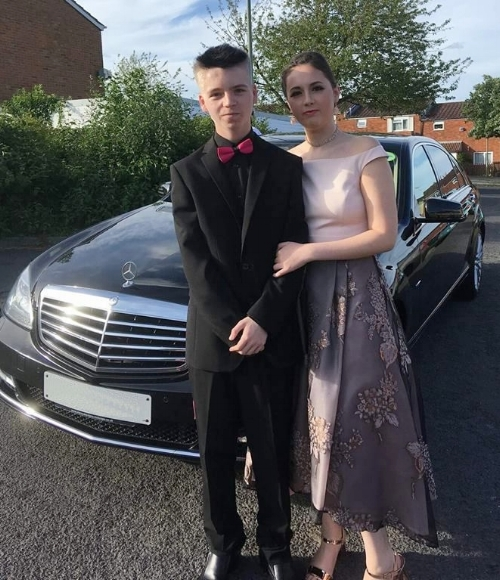 Sasha Prom Couple with Chauffeur Driven Mercedes