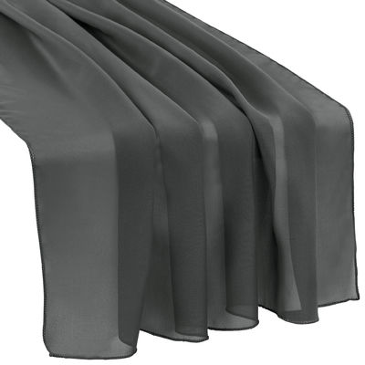 Dark Gray Chiffon Table Runner