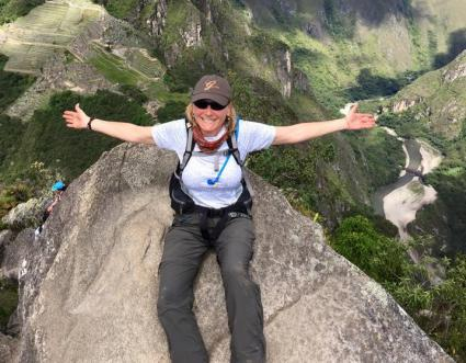 Gretchen on Hauyna (Wayna) Picchu while climbing with friends in Machu Picchu, Peru!
