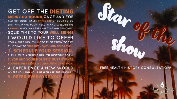 So let's put YOU at the top of your to-do list and make your health and well-being a priory. When was the last time you took 50 minutes out of your day to discuss YOUR specific health and well being?  Make now the time. I would like to offer you  a free health history consultation  today. Get off the dieting merry-go-round once and for all!  THIS WAY TO VIBRANT HEALTH AND SELF-LOVE...  1.  Schedule your session .  2. Fill out a simple health history form.  3. You and your holistic nutritional counselor create a clear path of action.  4. Experience a new world where you and your health are the priority.  5. Refer everyone you love.