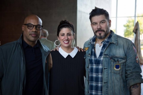 Jerome Lagarrigue, Lauren, and Tim Okamura at the Premiere of HEAVYWEIGHTPAINT at the Modern FW