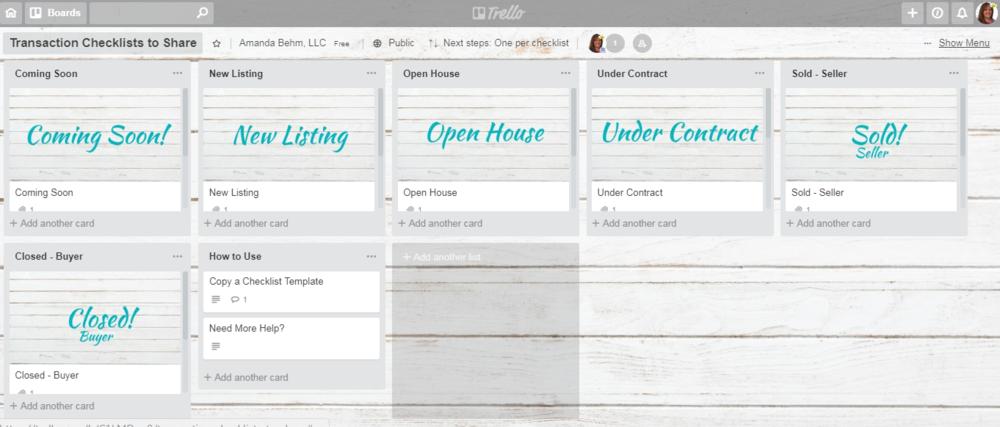 Free trello trxn checklists for real estate