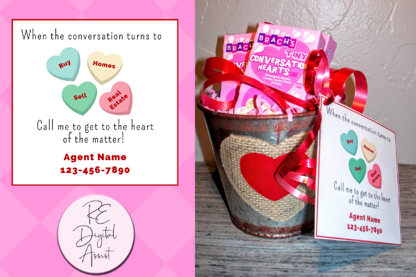 Real Estate Valentines Conversation Heart Pop By Idea with Custom Tags