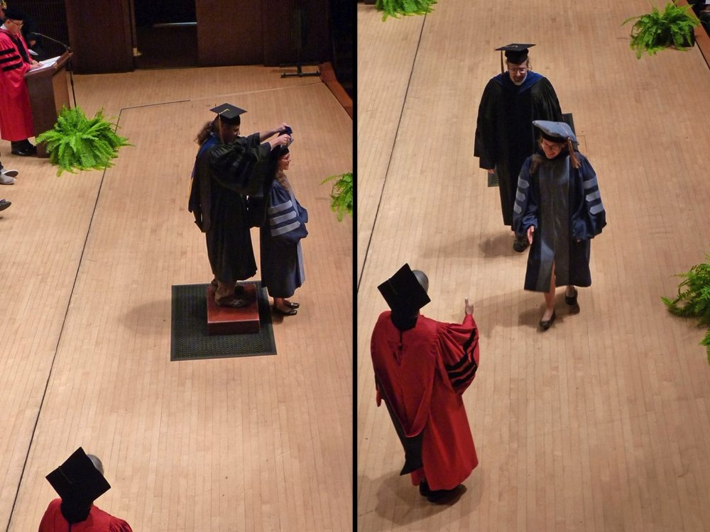 Emily's hooding at the 2018 graduate convocation