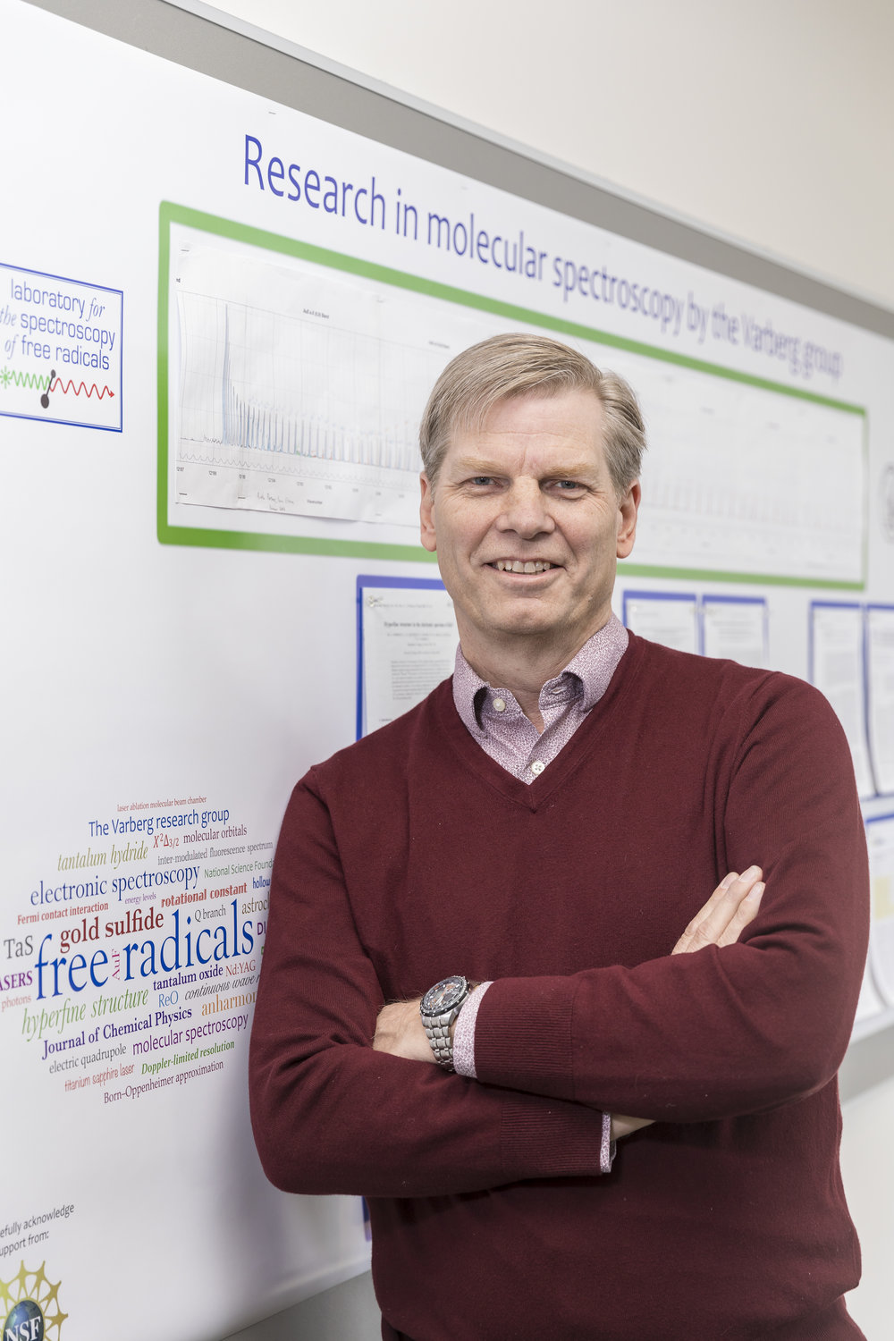Picture of Professor in front of research poster