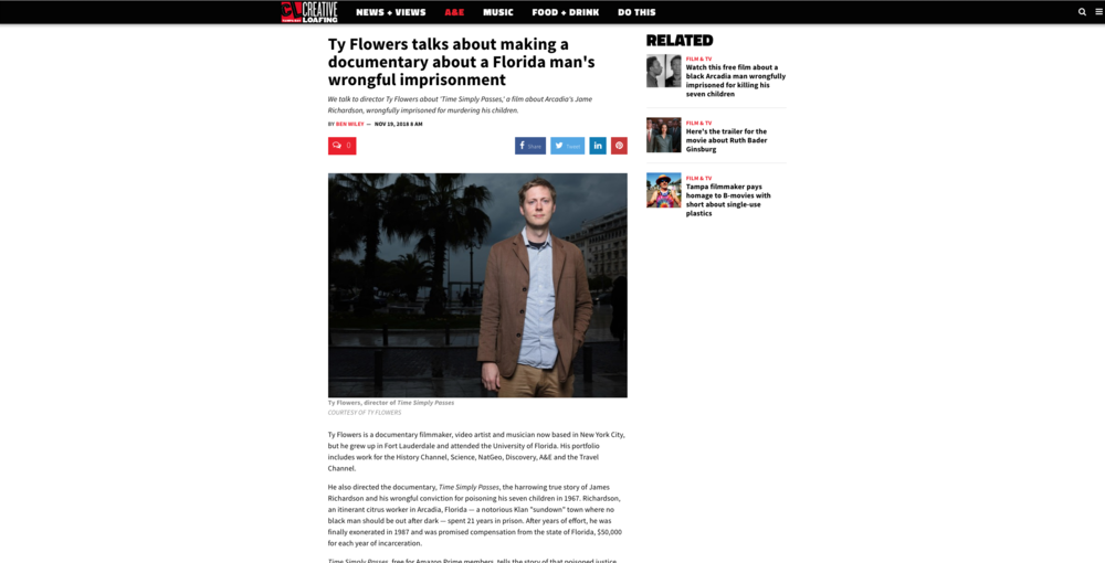 Creative Loafing: Ty Flowers talks about making a documentary about a Florida man's wrongful imprisonment