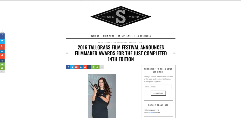 Selig Film News: 2016 TALLGRASS FILM FESTIVAL ANNOUNCES FILMMAKER AWARDS FOR THE JUST COMPLETED 14TH EDITION. November 5, 2016.