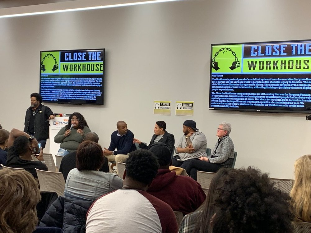 March 7, 2019. Public Meeting for Close the Workhouse. Montague Simmons, lead organizer of Close the Workhouse;Kayla Reed, Director of Action St. Louis; Blake Strode, Executive Director ArchCity Defenders; Kim Gardner, Circuit Attorney City of St. Louis; Mike Milton, Site Manager of The Bail Project-St. Louis; Mary Fox, District Defender, City of St. Louis.
