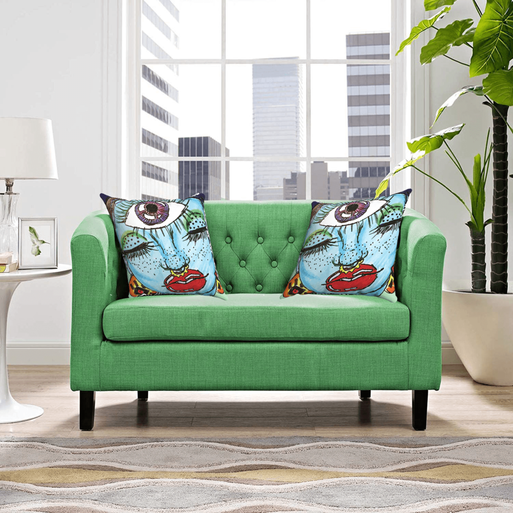 Third Eye Accent Pillows  by Ayanna Ali paired with  Modway Prospect Upholstered Contemporary Modern Loveseat In Kelly Green