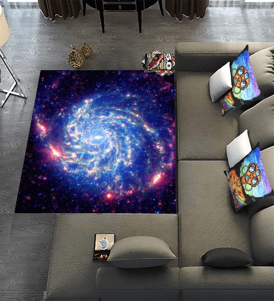 Solar Systar Accent Pillow  by Ayanna Ali with  Galaxy Nebula Cloud Outer Space,Area Rug by TOMORROWrug
