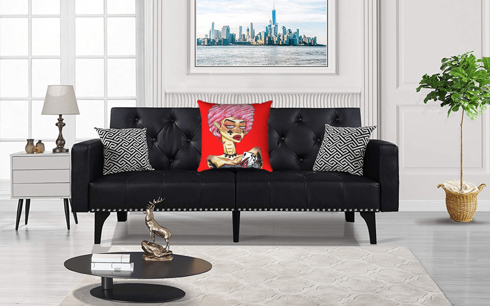 Cards Accent Pillow  by Ayanna Ali with  Modern Tufted Bonded Leather Sleeper Futon Sofa with Nailhead Trim
