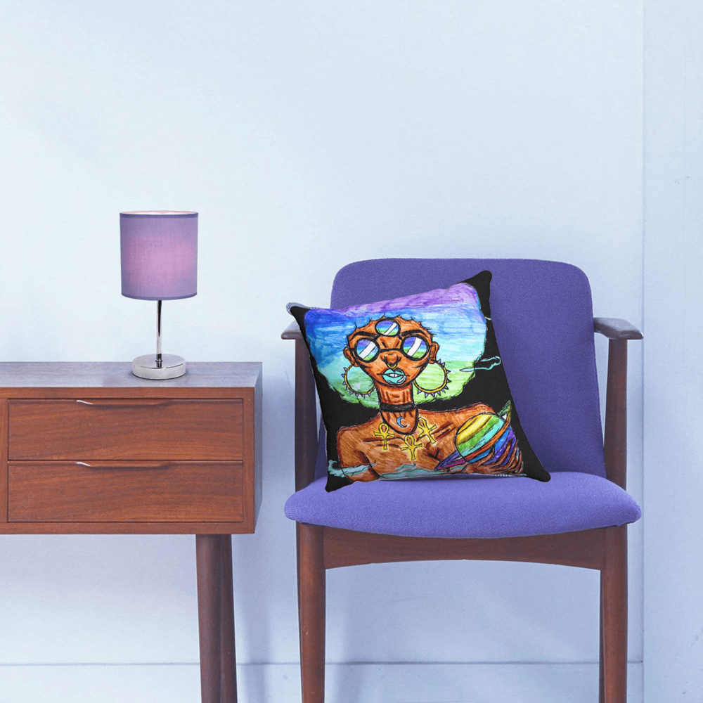 """""""Solar Systar"""" accent pillow by Ayanna Ali with  Simple Designs Chrome Mini Basic Table Lamp with Fabric Shade"""