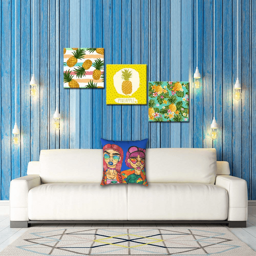 Shades Accent Pillow  by Ayanna Ali with  Kreative Arts Hawaii Pineapple Tropical Fruit Wall Art Decor, Multicolor, 3 Piece