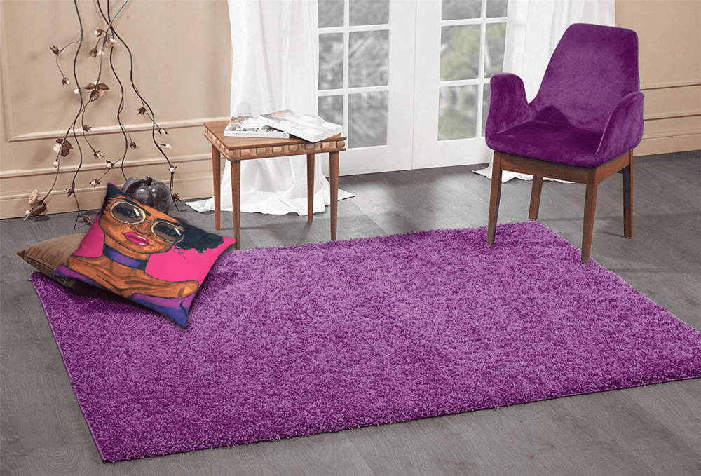Magic Accent Pillow  by Ayanna Ali with  A2Z Rug Cozy Shaggy Collection 4x6-Feet Solid Area Rug - Eggplant Purple
