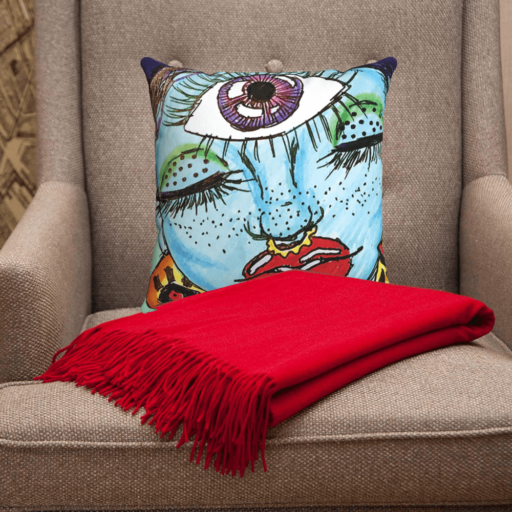 Third Eye Accent Pillow  by Ayanna Ali with  CUDDLE DREAMS Premium Cashmere Throw Blanket with Fringe