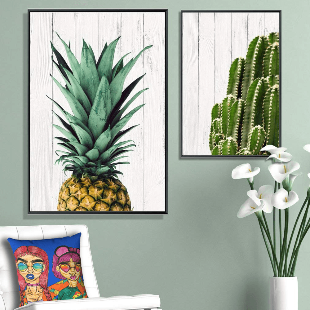 Shades Accent Pillow by Ayanna Ali with  Joe&Andy Studio Tropical Desert Cactus & Pineapple Canvas Print, Wall Art