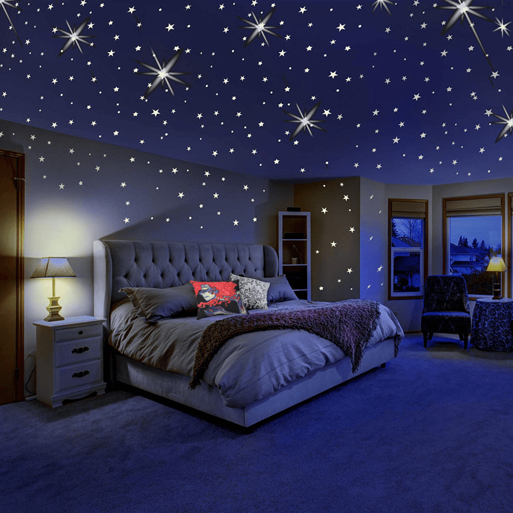 Peace of the Universe Accent Pillow  with  MAFOX Glow in The Dark Stars for Ceiling or Wall Stickers