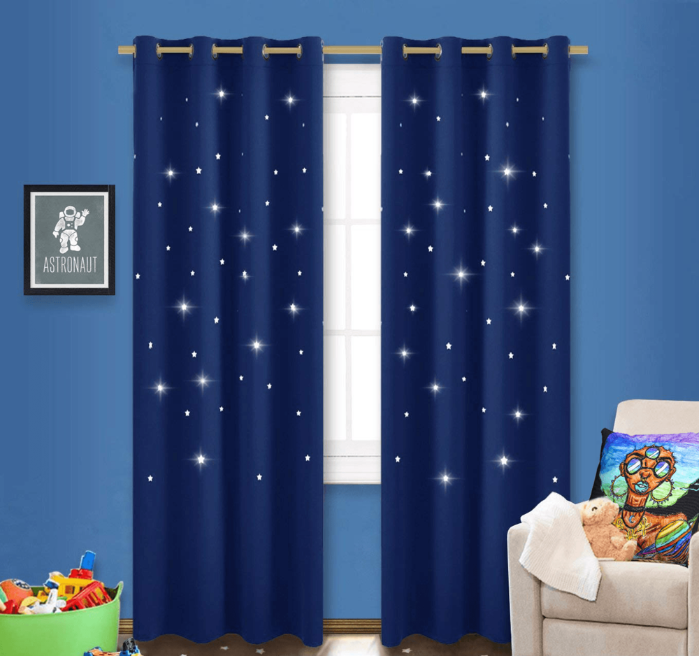 Solar Systar Accent Pillow  by Ayanna Ali with  NICETOWN Stars Blackout Window Curtain