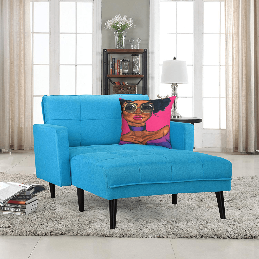 Magic Accent Pillow by Ayanna Ali with  Modern Linen Fabric Recliner Chaise Lounge by Divano Roma Furniture