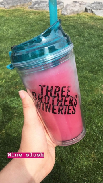 Okay, I was iffy on the wine slushie concept when we first got there, but I am  telling  you, if you're a basic white girl like me you  NEED  to get it. This is their white wine with berry pomegranate slush mix. $10 plus you get to keep the travel cup. So. Good.