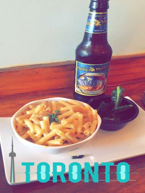 Vegan mac & cheese with a local brew and cheesy Snapchat filter.